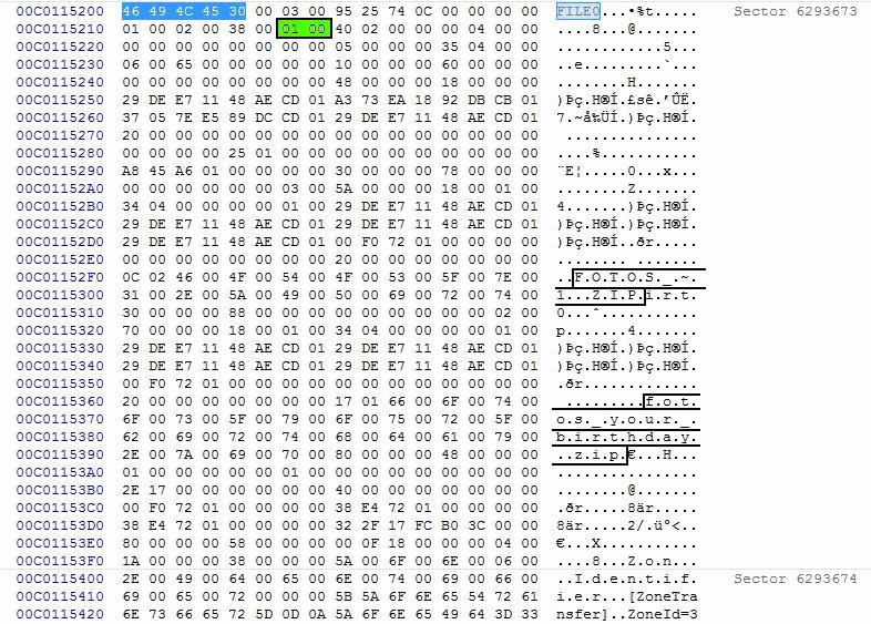 Entrada en la $MFT de un fichero en NTFS que está activo