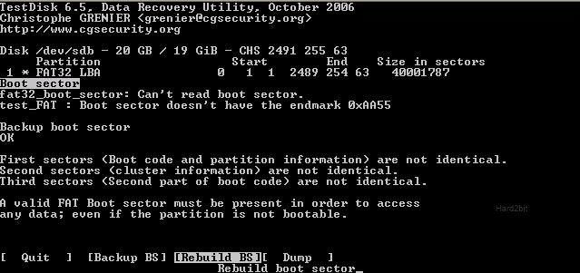 Captura de pantalla de TestDisk recuperando datos