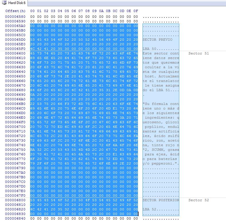 Datos recuperados del sector oculto del disco duro