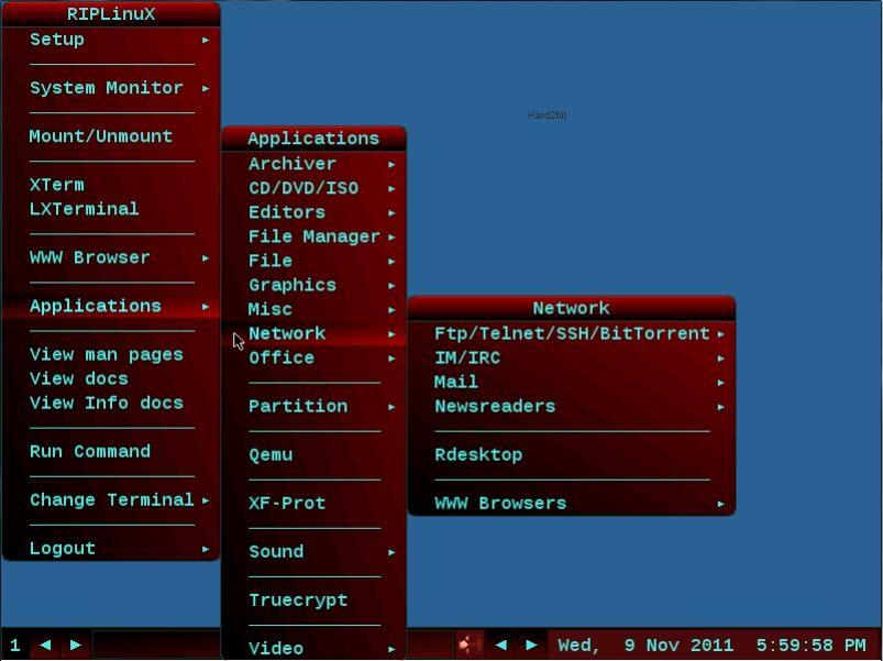 Interfaz de la distribución RIP Linux