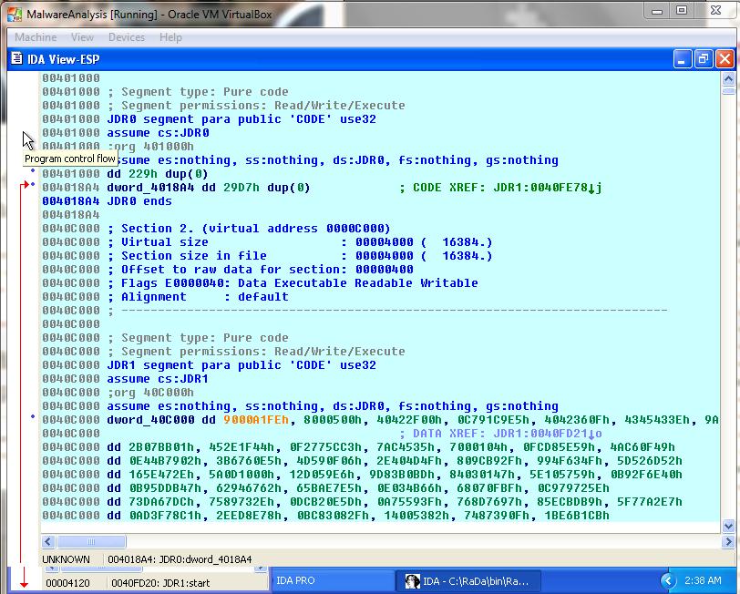 IDA Pro - secciones de memoria - seguridad informática