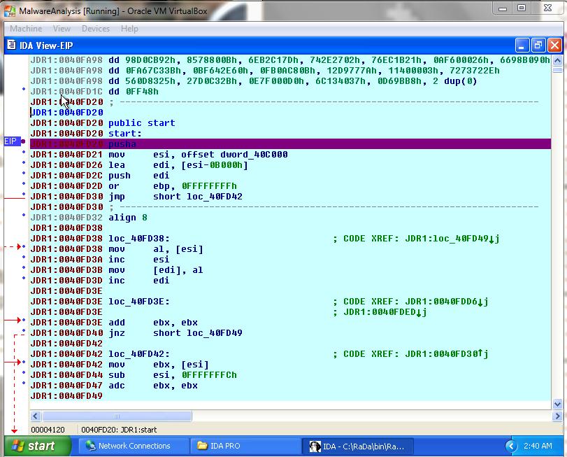 Parte del código de RaDa que desempaqueta el código ofuscado de JDR1 y lo copia a JDR0 en IDA Pro