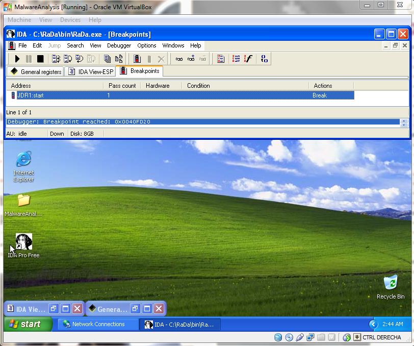 Controlando la ejecución del virus con el IDA Pro