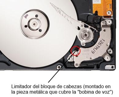 Bloqueador del bloque de cabezas de un disco duro